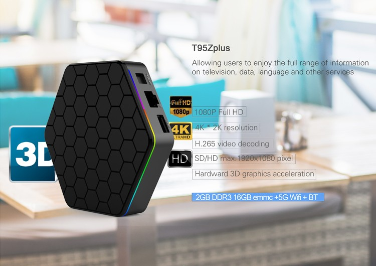 T95Z Plus Best Octa-core performance Android TV box 3GB+32GB Android 7.1 2.4G&5G Dual-Wifi Amlogic S912 Smart 4K TV Box