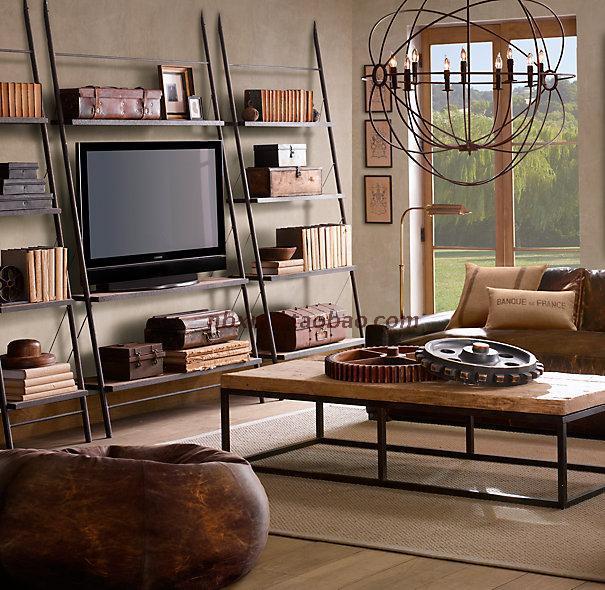 LOFT trapezoid TV cabinet bookcase American Iron furniture