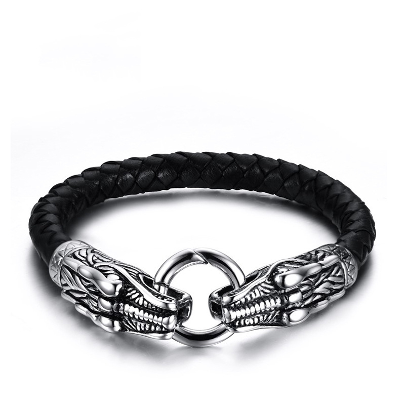 SJ Fashion Vintage Punk Style Double Dragon Briaded Genuine Leather Men Jewelry 316 Stainless Steel Bracelet