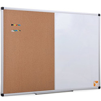 Combo Whiteboard Dry Erase Board Cork Board Magnetic Surface Board with Aluminum Frame Marker Pen Included with Pen Tray