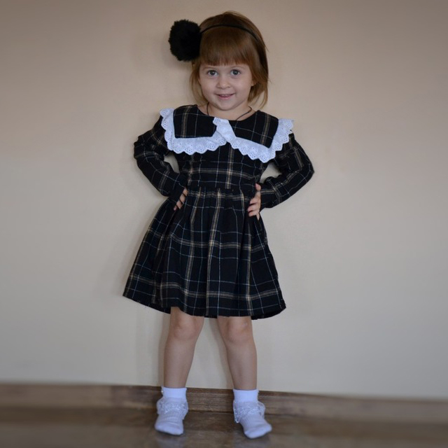 Kseniya Kids OEM Service Black Plaid Girls <strong>Cotton</strong> Lace Long Sleeve Dress For Spring Autumn