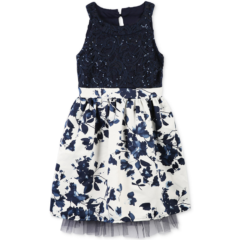 OEM wonderful children blue beaded lace printing dress short party dress