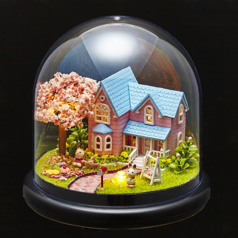 Diy Wooden Dollhouse Mini Glass Dollhouse Miniature Room: B016 Cherry Villa Dollhouse Miniature Glass Ball Diy