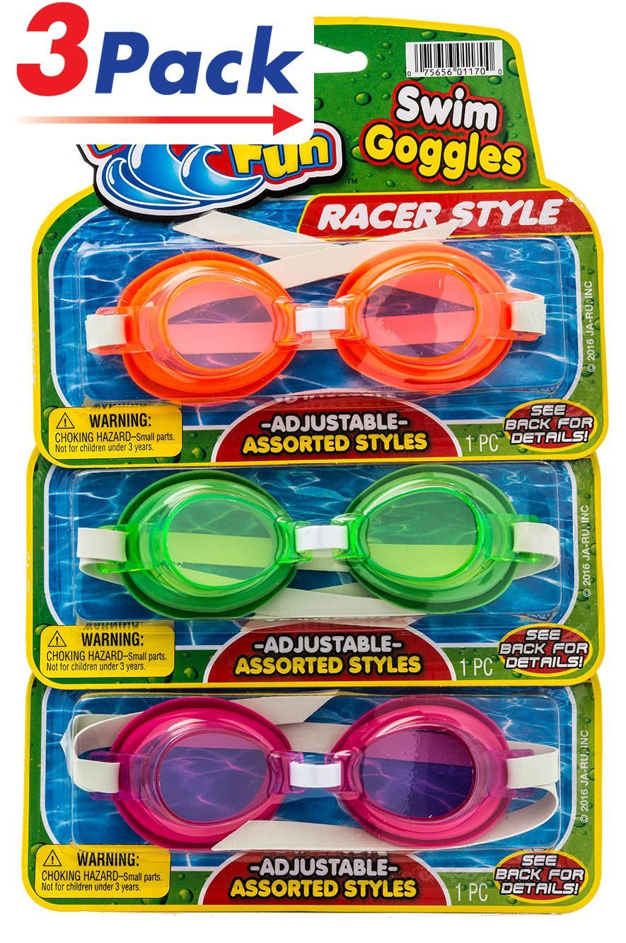 Kids Swim Goggles by JA-RU | Pool Beach Toys Swim Goggles for Outdoor Games Soft and Comfortable with Adjustable Strap Comes in 3 Styles Pack of 3 | Item #1170