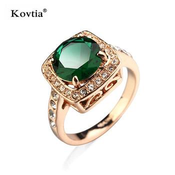 Turkish Gold Men Ring Green Gemstone Wedding Rings Oval Stone