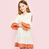 England Linen Fabric Clothing Flare Sleeves Children Dresses Fall