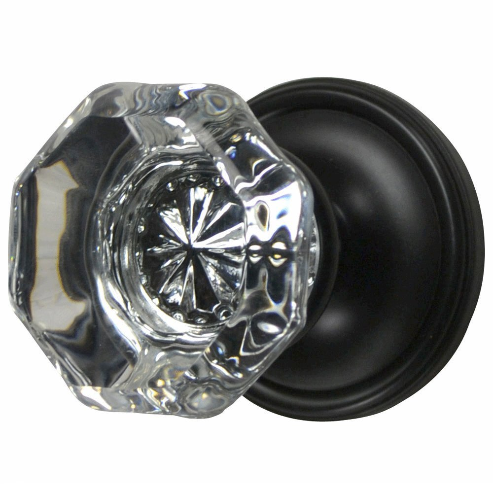 Providence Octagon Crystal Door Knob Set with Victorian Rosette in Oil Rubbed Bronze (Passage Hall / Closet)