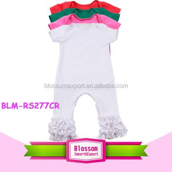 a78fa9291370 Blank Short Sleeve Long Leg Baby Icing Ruffle Romper Lap Shoulder ...