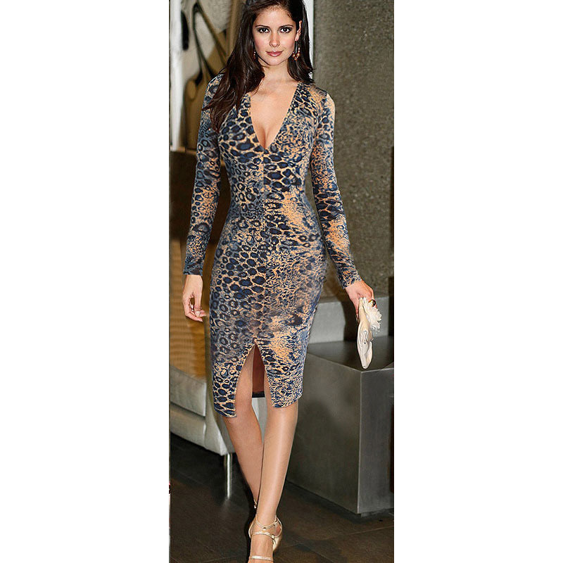 Get Quotations · 2015 Womens Sexy Deep V Neck Plunge Leopard Print Slit  Casual Clubwear Fitted Bodycon Sheath Pencil 4b88c0d88