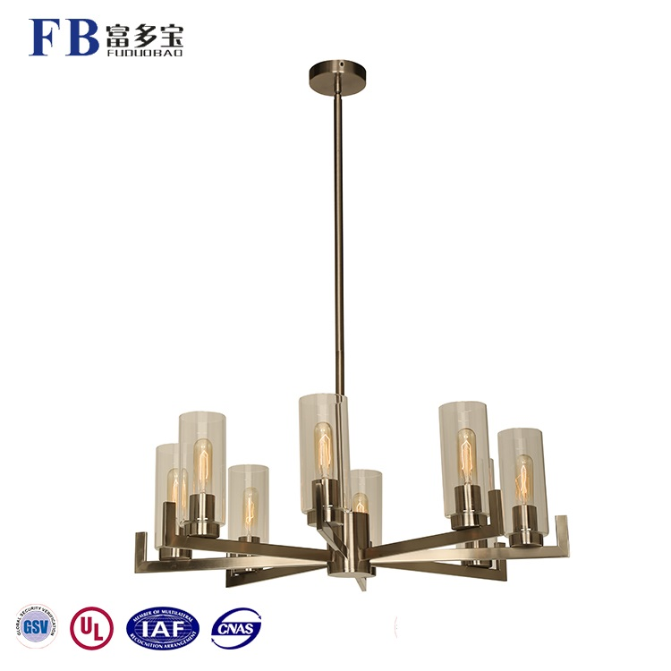 Home Decorative 8-Lights Antique Nickel Black Color Finish Modern Glass Chandelier