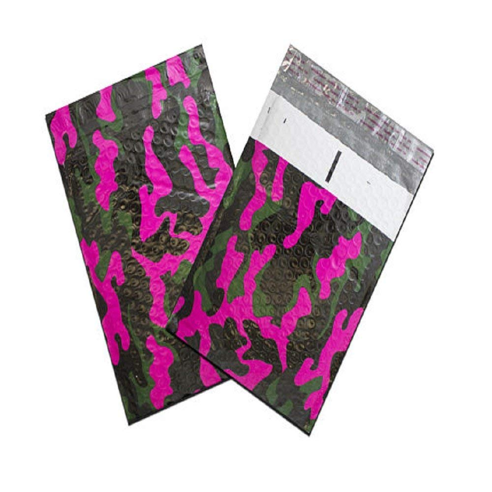 6x10 Metallic Bubble Mailer, Poly Bubble Design Padded Shipping Bags, Pink Camo