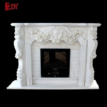 Indoor natural marble fine hand carved fireplace mantel