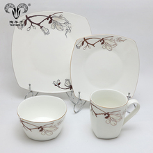 Spring blossom keramische platen set servies/luxe <span class=keywords><strong>porselein</strong></span> 16 stks diner set voor thuis