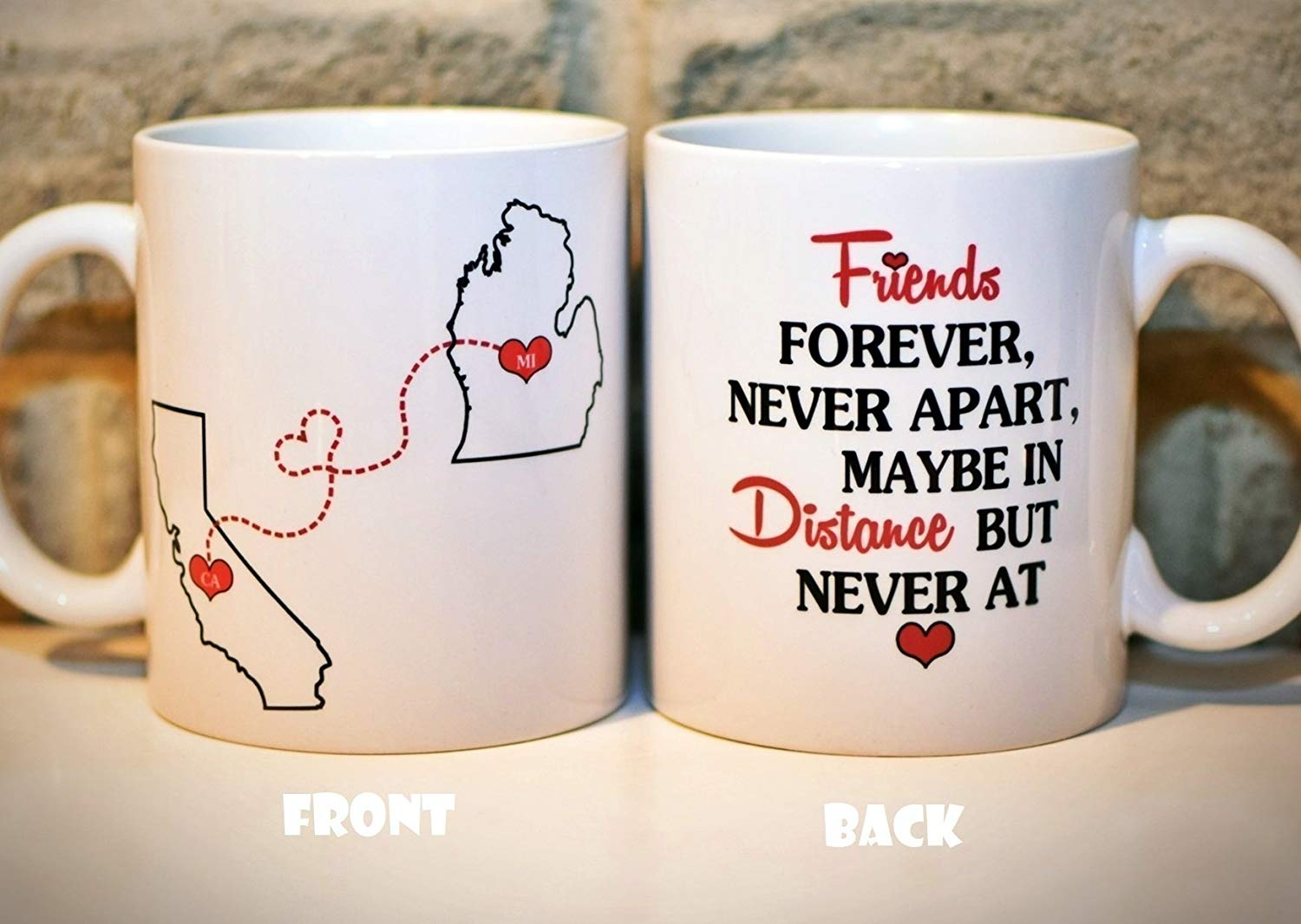 Long Distance Coffee Mug | States Mug | BFF Coffee Mug | Best Friends Mug | Valentine's Day Gift | Gift for Valentines | Personalized with Custom Quote | All States, Countries - 11oz or 15oz | ONE MUG