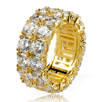 New 2 Row 9mm CZ Ring Full Bling Iced Out Wedding Zircon Hollow Luxury Engagement Fashion Jewelry Gift Size 6-12