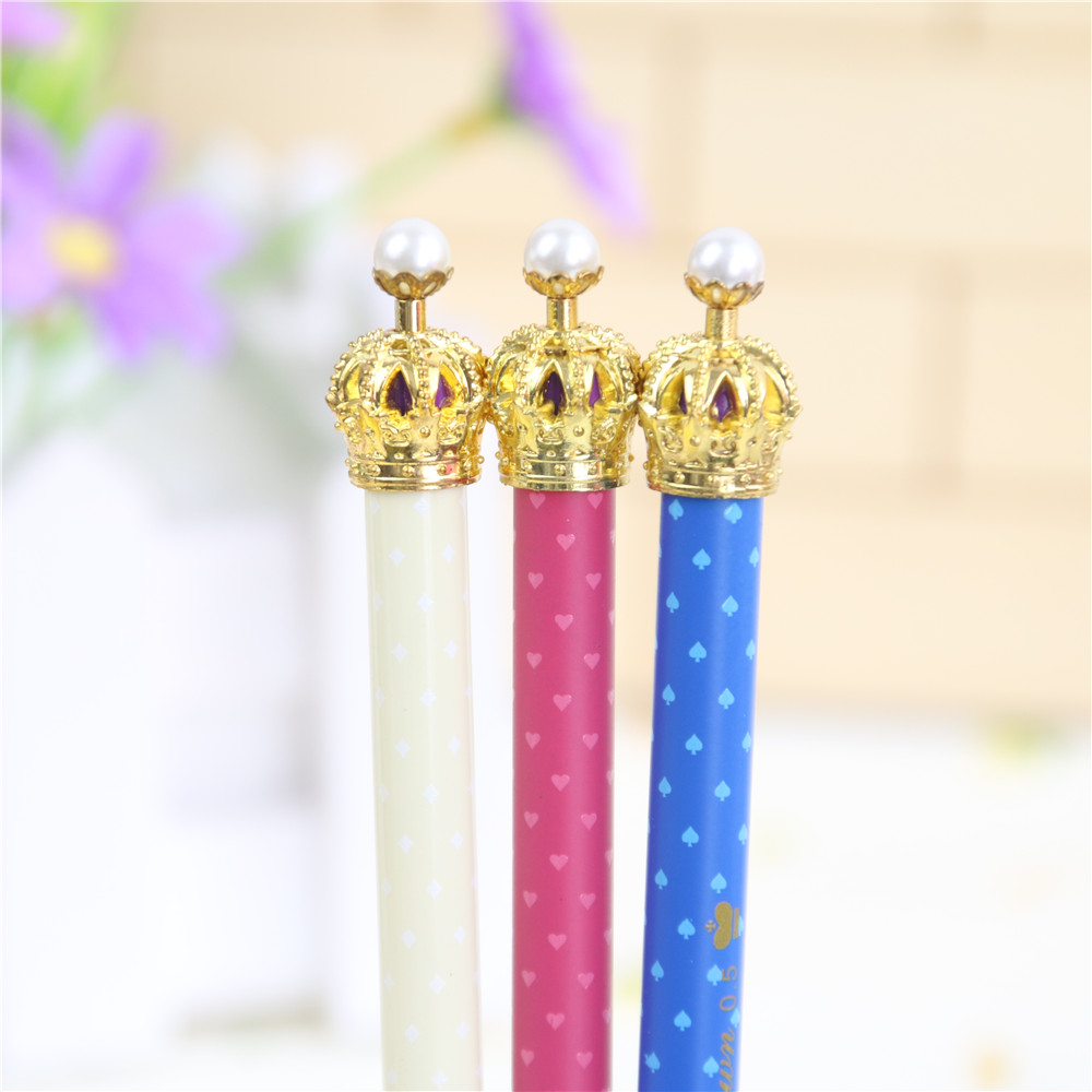 Hot Sales Cute Cartoon Metal Crown Gel Pen Kawaii Lovely Korean Stationery For Kids School Supplies Gift Free Shipping 1825