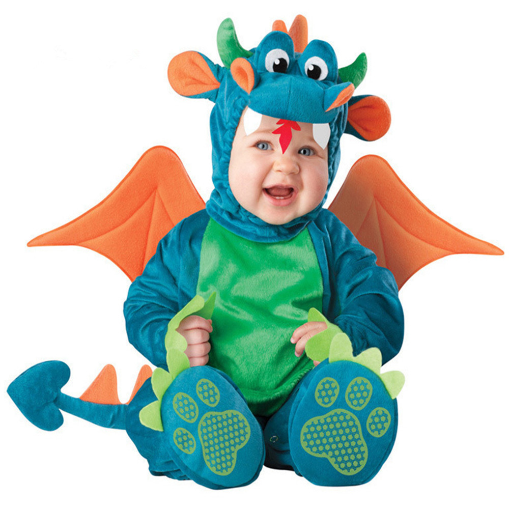 2016 Spring Baby Boys Girls Co-splay Triceratops Costume Infant Baby Dinosaur Anime Cosplay Newborn Toddlers Clothing Set