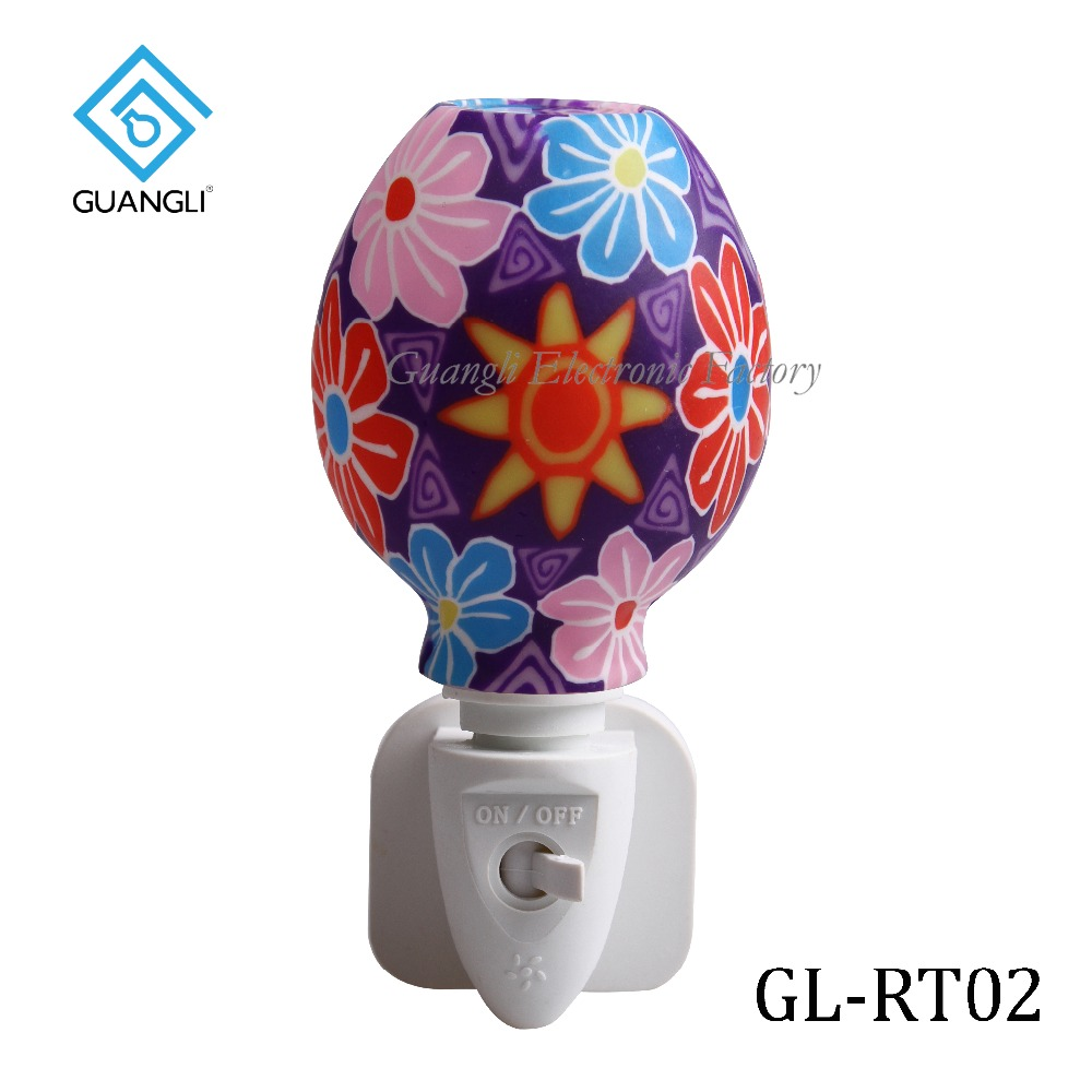 Aroma Essential Oil soft Art glass flowers design night light For indoor decoration 110v 220v 7w