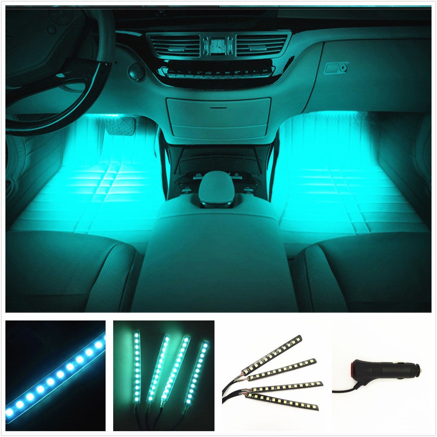 Car Interior Lights, EJ's SUPER CAR 4pcs 36 LED DC 12V Waterproof Atmosphere Neon Lights Strip for Car-Car Auto Floor Lights,Glow Neon Light Strips for All Vehicles (Ice Blue)