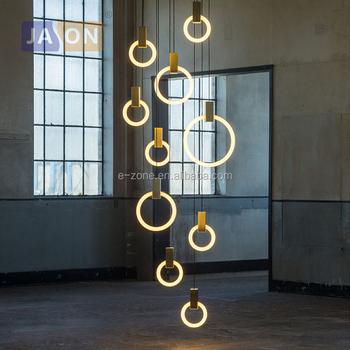 Salle T9 SuspensionSuspension Verre Manger LumièreLampes Led Fer Bricolage SuspenduesÀ Anneau Lampe Nordique Hall Pour WH9D2EYI