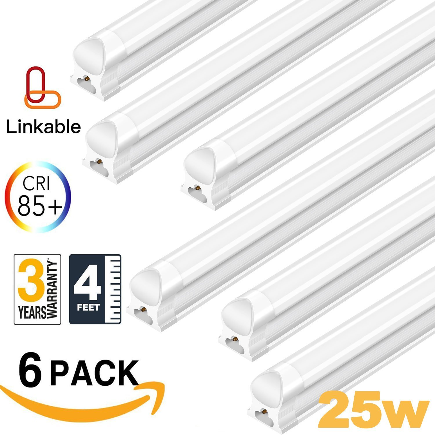 AntLux Linkable 4FT LED Shop Lights for Garage, 25W T8 Integrated Strip Ceiling Light Fixtures, 2500lm, 5000K, Plug in with ON/Off Switch, Fluorescent Tube Replacement for Workshop Basement, 6 Pack