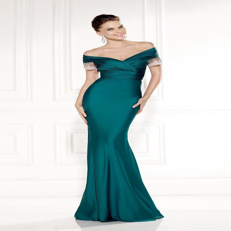 Get Quotations · New Arrival Hunter Green Tarik Ediz Evening Dress 2015 Off  the Shoulder Neck Pleat Short Sleeves 626cb7c90