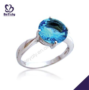 hot sale silver blue lucky stone finger ring