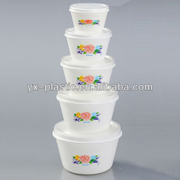 Round Plastic Food Container Bowl Set With Lid Buy Round Plastic