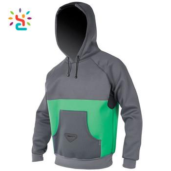 aaa9ed41c Custom Work Out Neoprene Hoodie Green Waterproof Full Zip-up Jacket Coat Fleece  Panelled Pullover