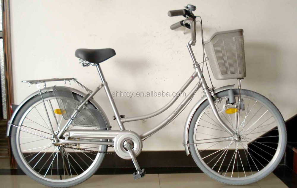 "26"" silver steel lady bike/cycling with basket made in China"