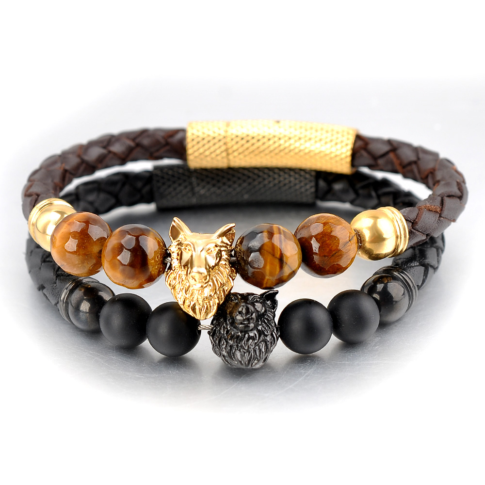 New Products 2018 Custom men Jewelry Leather Charm Three Stone Bracelet