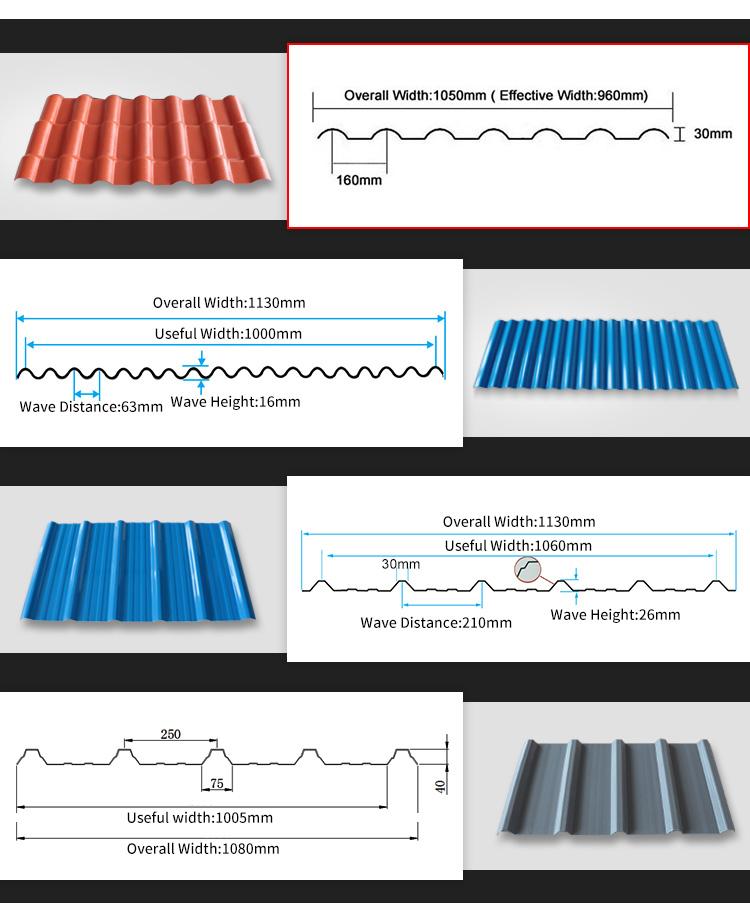 3-4 strati ASAPVC tetto di plastica lamiera ondulata di copertura di protezione UV
