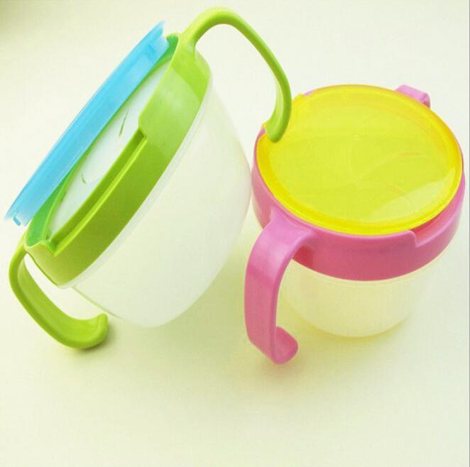 Анти - анти-разлива дизайн ребенок дважды ручка горшок закуски чашки новорожденных девочек мальчиков блюда печенья чаша / кормление