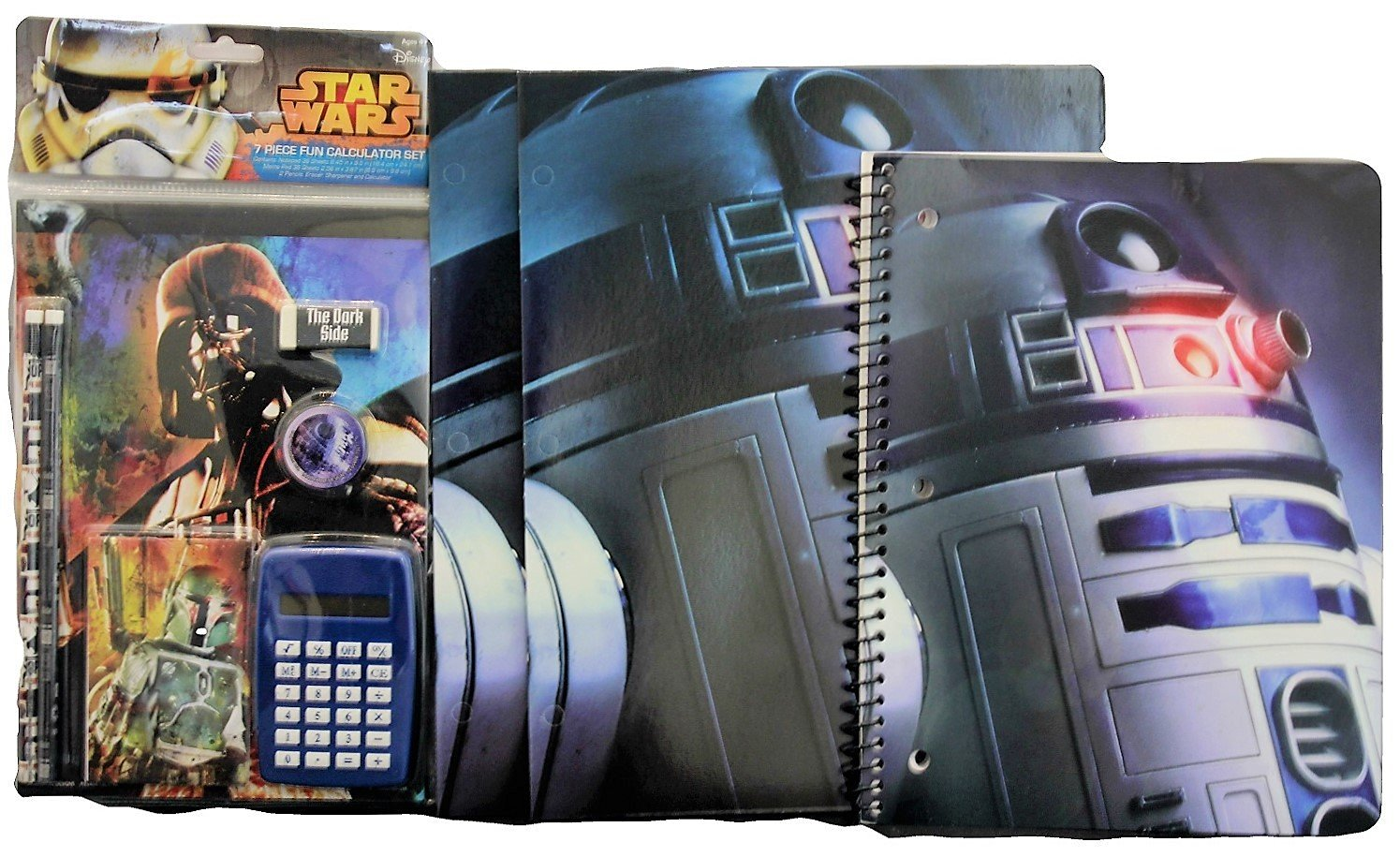 Star Wars R2D2 Back to School Classroom Supply Bundle for Elementary through College Students: 1 Spiral Notebook, 2 Pocket Folders & 7pc Calculator Set (2 Pencils, Erasers, Notepads & Sharpener)