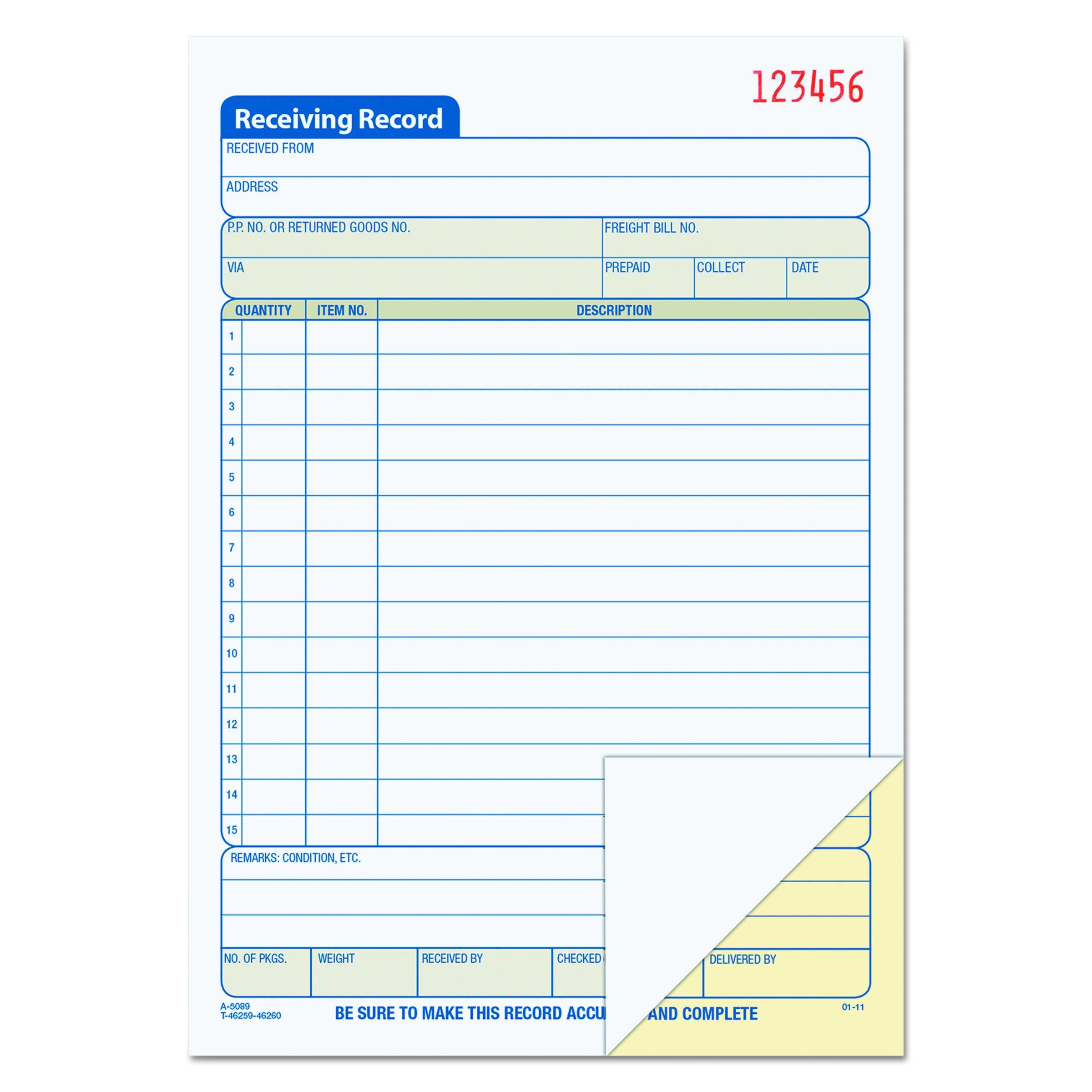 TOPS Receiving Record Book, 2-Part, Carbonless, 50 Sets per Book (46259)