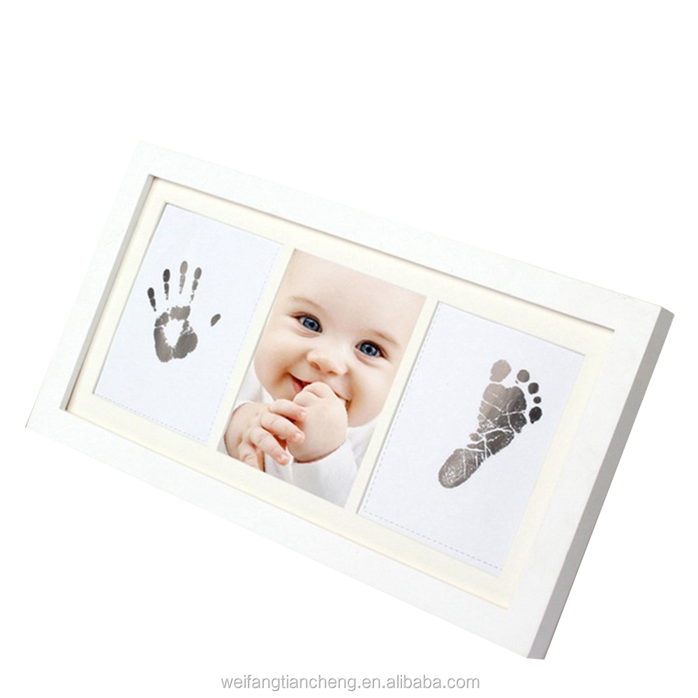 Sweet Boy & Girl Baby Ink Pad Handprint Photo Frame / Baby Christmas Souvenir