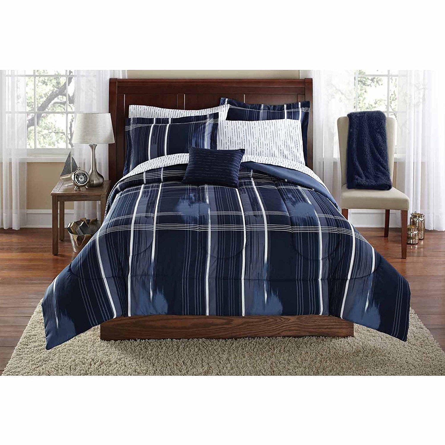 Mainstays Teen Modern Geometric Plaid Navy Blue Reversible Bedding Full Comforter for Boys (8 Piece in a Bag)