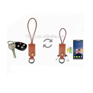 Multifunction Leather Keychain Micro 5pin USB Sync Charger Data Cable Keyring charging cable for Android
