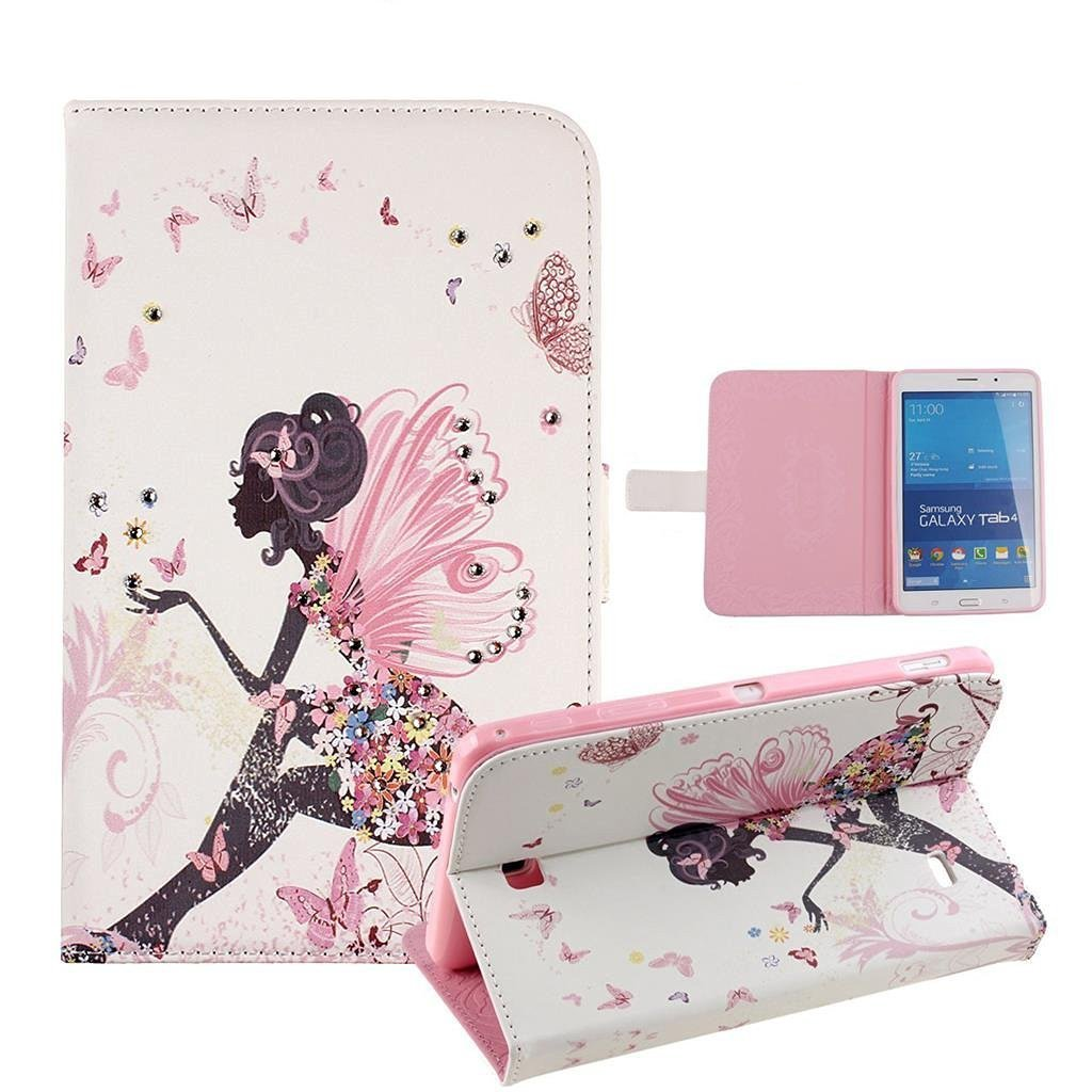 Galaxy Tab 4 7.0 Case, Tab 4 7.0 Case, Itrendz [Cute Case] Cherry Blossoms PU Leather Flip Case [Card Slot Case] [Magnetic Closure] Smart Cover For Samsung Galaxy Tab 4 7.0 SM-T230NU, Fairy Girls