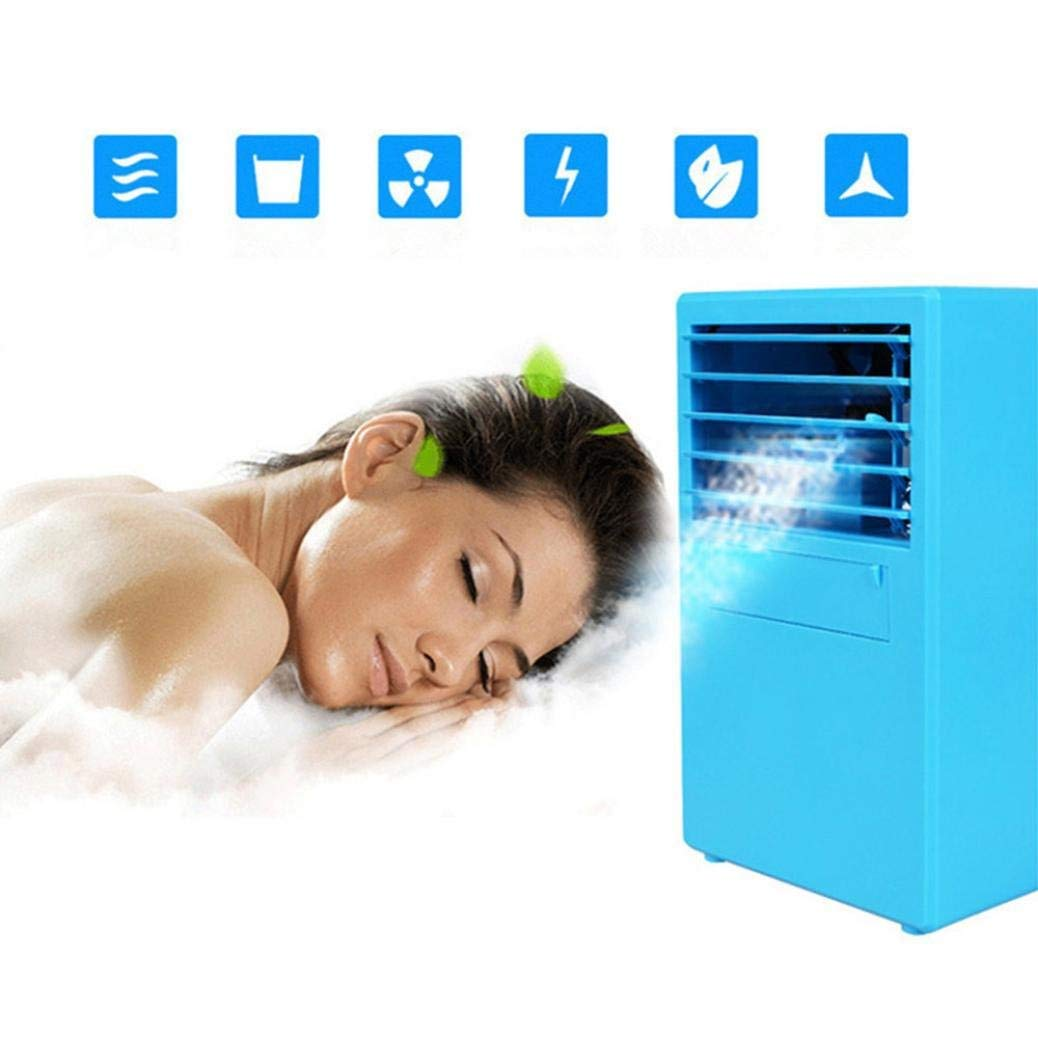 Portable Multi Functional Fan & Air Cinditioner, Elevin(TM) Portable Air Conditioner Fan Mini Evaporative Air Circulator Cooler Humidifier (Blue)