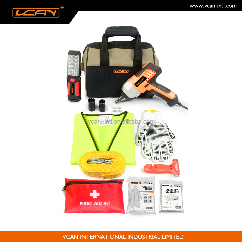 Multi-purpose 39pcs auto roadside emergency kit with impact wrench