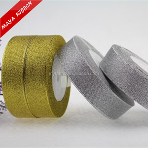 Gold or silver metallic decoration ribbon ,gift box tie ribbon