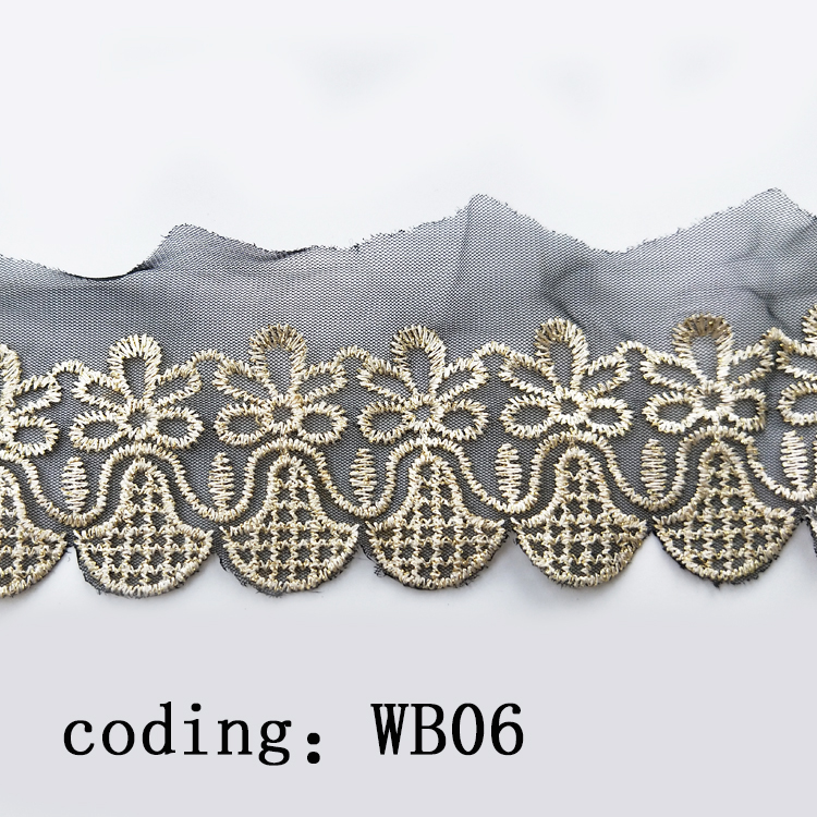 High quality luxury embroidered black mesh gold gold lace fabric trim for clothing