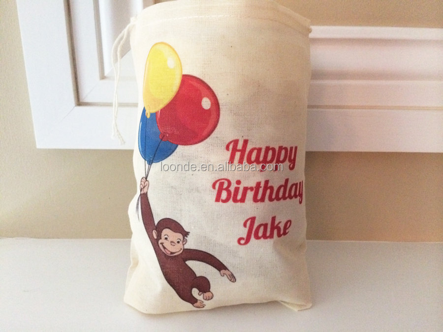 Small promotion cotton cloth birthday treat packing bag