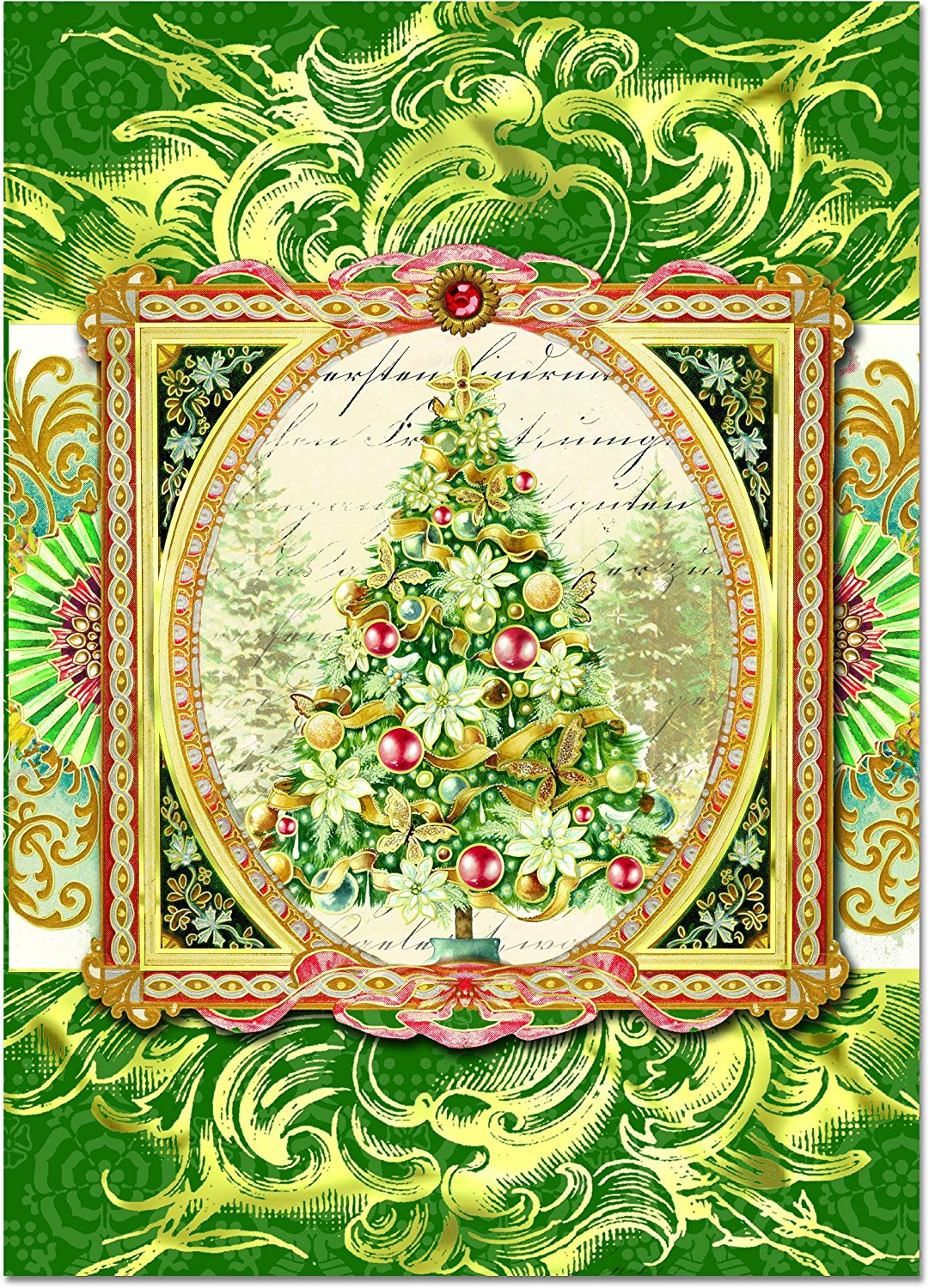 get quotations punch studio christmas tree dimensional greeting cards with gold foil and gem embellishments set of