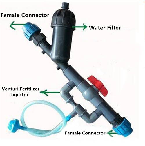 Plastic venturi fertilizer injector for drip irrigation