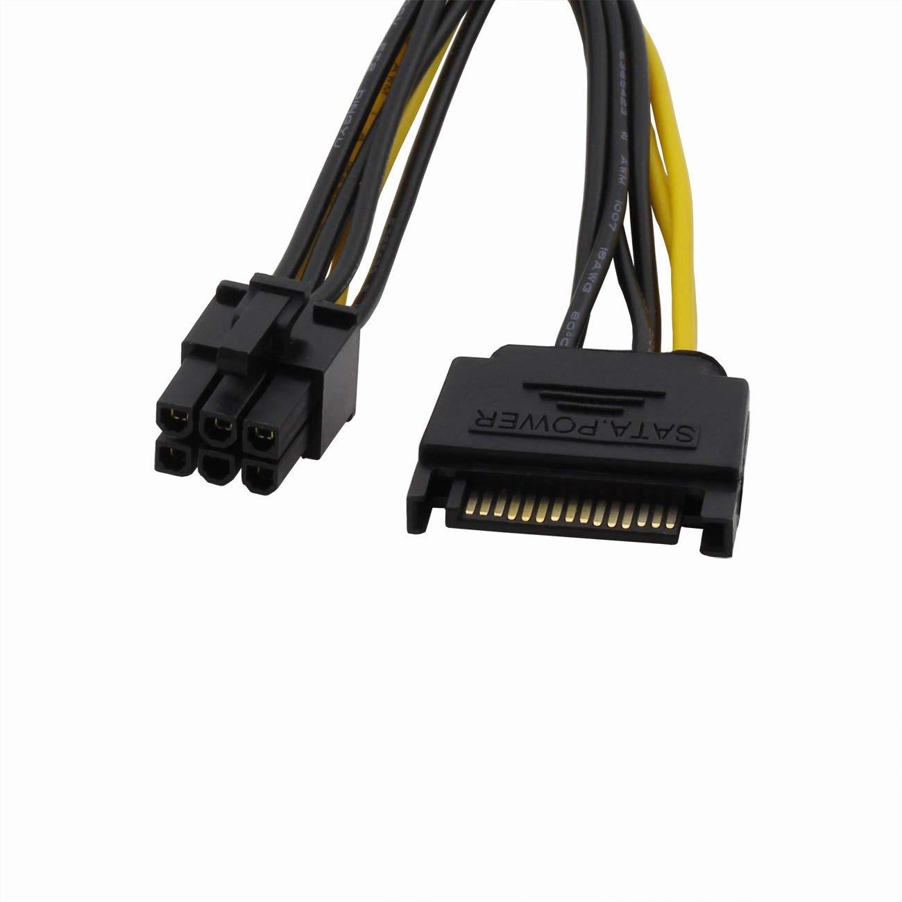 ZRM&E 2PCS SATA Power Adapter Line 15 Pin Male To 6 Pin PCI Express Female PCI-E Sata Graphics Converter Adapter Video Card Power Cable 20cm