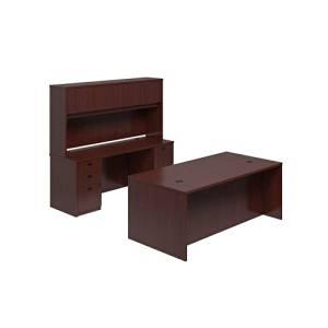 "basyx by HON BSXBLDCH7296N BL Laminate Executive Workstation, Desk, Credenza, Hutch, 4 Pedestals, 72""W x 102""D, Mahogany"