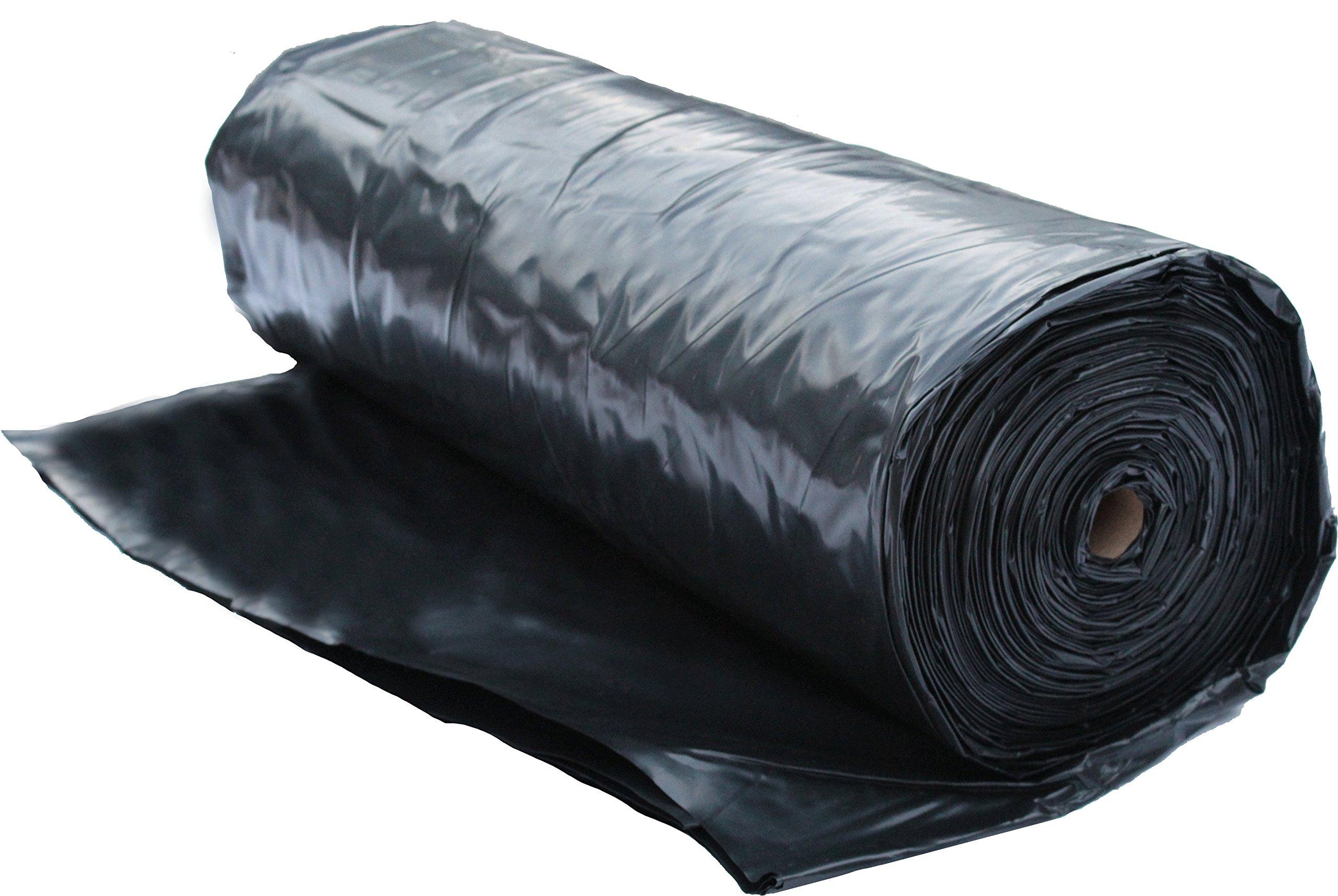 6 Mil Polyethylene Sheeting Roll (20' x 100') Black Plastic Sheeting,  Plastic Tarp, Plastic Mulch, Weed Barrier, Concrete Moisture, Vapor  Barrier,