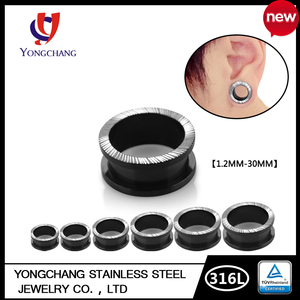 Fashion body piercing jewelry 316l sargical stainless steel ear plug adjustable ear expand for couple